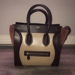 Celine Mini Luggage Tricolor Beige Authentic
